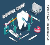 dental care isometric... | Shutterstock .eps vector #695864659