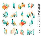 isometric set of elderly people ... | Shutterstock .eps vector #695864707