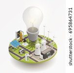 electric power production and... | Shutterstock .eps vector #695864731