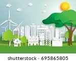 eco green city and nature... | Shutterstock .eps vector #695865805