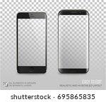 black phones vector mock up... | Shutterstock .eps vector #695865835