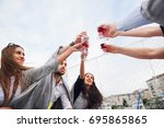 clinking glasses with alcohol... | Shutterstock . vector #695865865