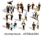 happy winner male business...   Shutterstock .eps vector #695866384