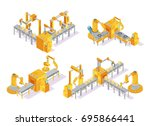 conveyor system with computer...   Shutterstock .eps vector #695866441