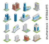 set of isometric buildings... | Shutterstock .eps vector #695866495