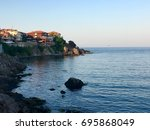 sunset in sozopol  black sea ... | Shutterstock . vector #695868049