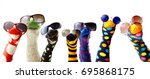 colorful fun sock puppets... | Shutterstock . vector #695868175