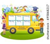 template in form of school bus... | Shutterstock .eps vector #695868217