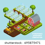 hydroponics and aeroponics... | Shutterstock .eps vector #695875471