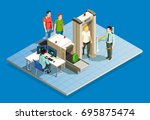check in airport people... | Shutterstock .eps vector #695875474