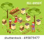 bee keeping yard with beehives... | Shutterstock .eps vector #695875477
