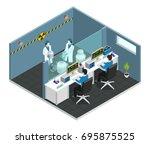 scientific laboratory isometric ... | Shutterstock .eps vector #695875525