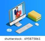 online education icon isometric ... | Shutterstock .eps vector #695875861