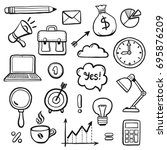 set of hand drawn business... | Shutterstock .eps vector #695876209