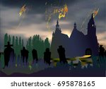 scary halloween landscape with... | Shutterstock .eps vector #695878165