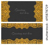 set of elegant lace greeting... | Shutterstock . vector #695878729