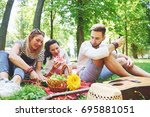 group of friends having pic nic ... | Shutterstock . vector #695881051