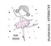 prima ballerina. surface design ... | Shutterstock .eps vector #695886769