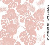 seamless tropical pattern with... | Shutterstock .eps vector #695888239