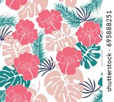 seamless tropical pattern with... | Shutterstock .eps vector #695888251
