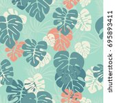 seamless pattern with monstera... | Shutterstock .eps vector #695893411