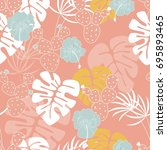 seamless tropical pattern with... | Shutterstock .eps vector #695893465