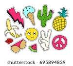 fashion patch badges set.... | Shutterstock .eps vector #695894839