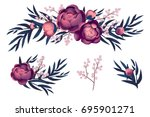 pink and purple peony and dried ... | Shutterstock . vector #695901271