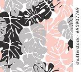 summer seamless tropical... | Shutterstock .eps vector #695907769