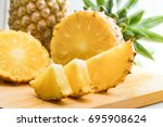 fresh pineapple fruit and... | Shutterstock . vector #695908624