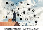 young man standing with back on ... | Shutterstock . vector #695912569