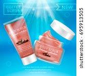 realistic packaging body scrub... | Shutterstock .eps vector #695913505