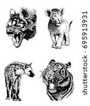 graphical hand painted  set of... | Shutterstock .eps vector #695913931