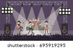rock band at concert. guys in... | Shutterstock .eps vector #695919295
