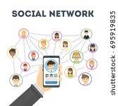 social network concept. hand... | Shutterstock .eps vector #695919835