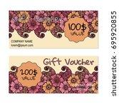 vector gift voucher  card... | Shutterstock .eps vector #695920855