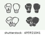 set of vintage boxing gloves in ... | Shutterstock .eps vector #695921041