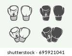 set of vintage boxing gloves in ... | Shutterstock .eps vector #695921041