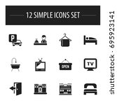 set of 12 editable plaza icons. ...