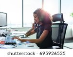 woman entrepreneur busy with... | Shutterstock . vector #695926525