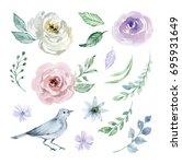 watercolor set of elements for... | Shutterstock . vector #695931649
