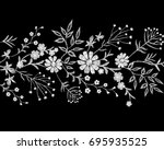 Stock vector embroidery white lace border floral border small branches herb leaf with little blue violet flower 695935525