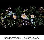 embroidery trend floral border... | Shutterstock .eps vector #695935627