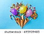 tasty appetizing party... | Shutterstock . vector #695939485