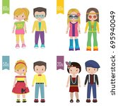 a set of 20th century trendy... | Shutterstock .eps vector #695940049