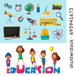 back to school. children on the ... | Shutterstock .eps vector #695941675