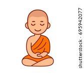 buddhist monk in orange robes... | Shutterstock .eps vector #695942077