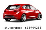 unbranded red car   rear angle  ... | Shutterstock . vector #695944255