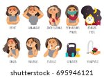 set of flu  influenza symptoms... | Shutterstock .eps vector #695946121