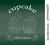 set of cupcakes isolated on... | Shutterstock .eps vector #695946859